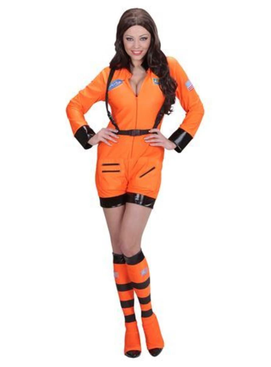 astronauten kost m orange f r damen funidelia. Black Bedroom Furniture Sets. Home Design Ideas