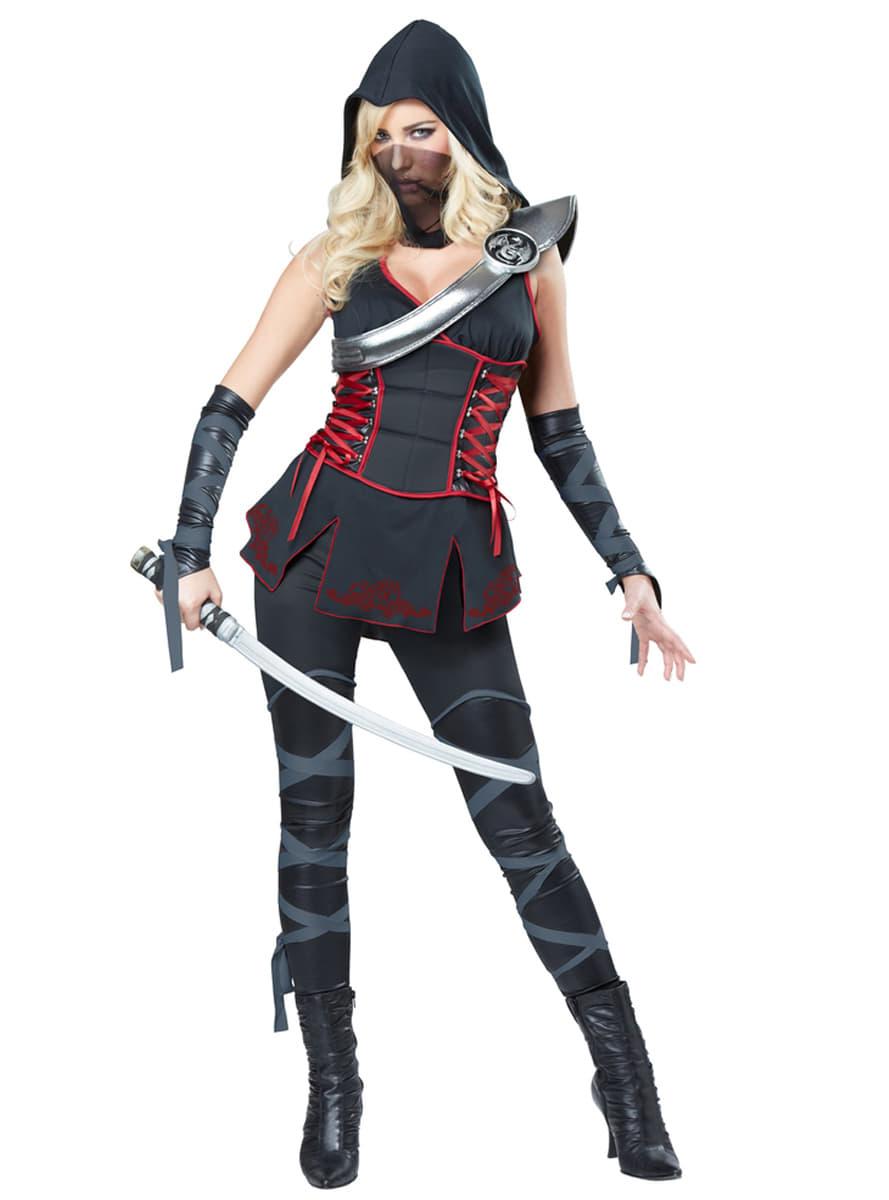 disfraz de asesina ninja negra para mujer comprar online en funidelia. Black Bedroom Furniture Sets. Home Design Ideas